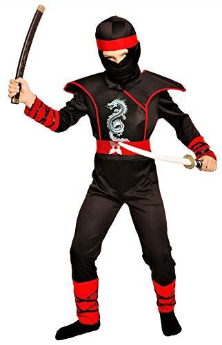 Magicoo Cobra Ninja Kostüm für Kinder Jungen rot-schwarz - Faschingskostüm Ninja Kinder Kostüm (134/140)