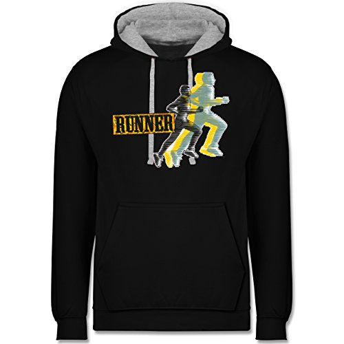 Laufsport - Runner - Kontrast Hoodie Schwarz/Grau Meliert