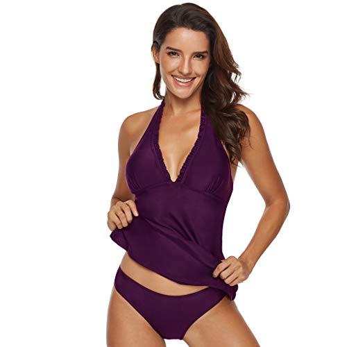 Produp Damen Spitze Bikini Set Rückenfrei Split Badeanzug Sexy Solide Halfter Bikini Zwei Stück Badeanzug Oberteil