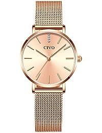 6140c9754749 CIVO Relojes de Mujer Ultra Fino Silm Minimalista Lujo Reloj de Señoras  Impermeable Oro Rosa Relojes de Pulsera…
