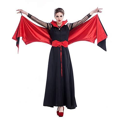 Wings Kostüm Demon - ERFD&GRF Erwachsene Frauen Rot Schwarz Vampir Halloween Kostüm Kleid Bat Wing Evil Demon Damen Cosplay Phantasie Outfit Für Mädchen Plus Größe, Rot, L Fehlschlag 94 cm