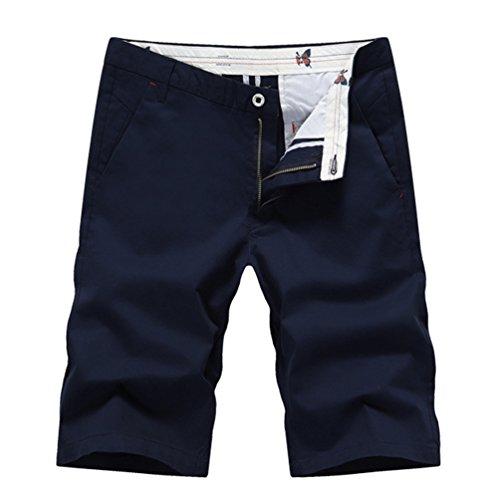 YuanDian Uomo Estivi Casual Tinta Unita Dritto Chino Shorts Traspirante Sottile Bermuda Pantaloncini Pantaloni Corti Blu scuro