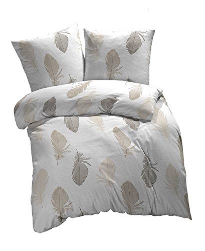 Etérea 2 tlg Renforcé Baumwolle Bettwäsche Federn Weiß Braun Grau, 140x200 cm + 70x90 cm (Muster Bettwäsche Set)
