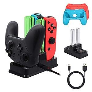 LiNKFOR 4 in 1 Controller Ladestation für Nintendo Switch Pro Controller Ladegrät mit 4 Slots für Joy-Con und 2 Typ-C USB Port für Switch Konsole / Pro Controller / Typ-C Geräte Dock