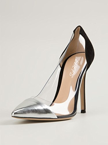 EDEFS Damen PVC Transparent Spleißen Pointed-toe Stiletto Abendschuhe 10cm 3.9in Pumps Silber