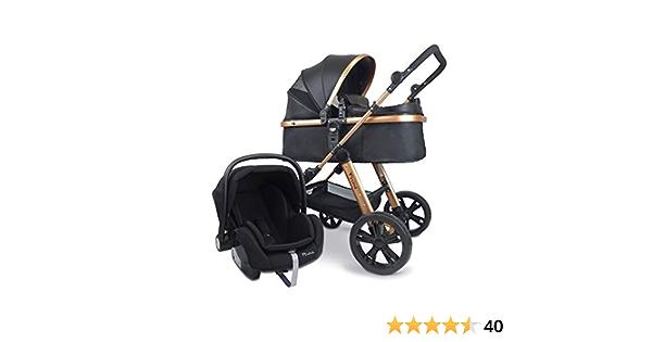 Pixini Kinderwagen Arizona 3in1 Kombikinderwagen, inkl. Babywanne /& Buggy /& Auto-Babyschale - Alu-Rahmen - mit Zubeh/örpaket in gold//schwarz