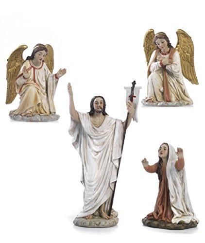 Set di 4 statue resurrezione di gesù in resina presepe pasquale cm.14 by paben