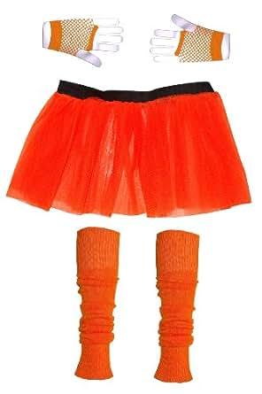 Girls 3 Layer Tutu set with Leg Warmers & Fishnet Gloves Age 4 to 12 (4, Orange)
