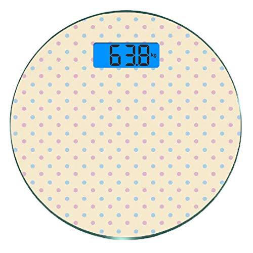 Digitale Präzisionswaage für das Körpergewicht Runde Punktmuster Ultra dünne ausgeglichenes Glas-Badezimmerwaage-genaue Gewichts-Maße,Retro Polka Dots Kleine Münze Kleine Flecken Alte Epochen Mode Mus -