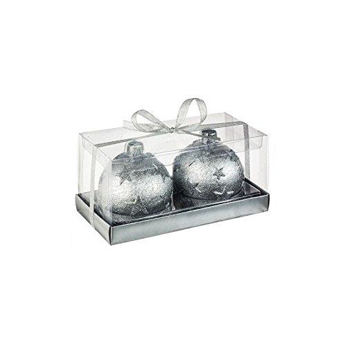 Vela de bolas de Navidad–juego de 2–D 7,5cm–Plata