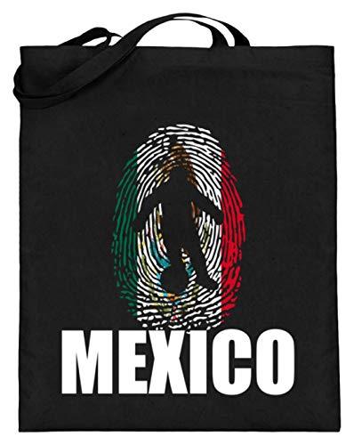 Hochwertiger Jutebeutel (mit langen Henkeln) - WM Mexiko Trikot Russland 2018 Für Mexikaner Fans Fußball Fingerabdruck National Design