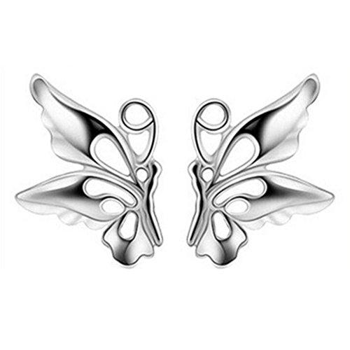 Ohrstecker Damen,DOLDOA Schmetterling Ohrringe Ohrschmuck Earring Ohr Ring (Silber) - Square Schmetterling Blatt