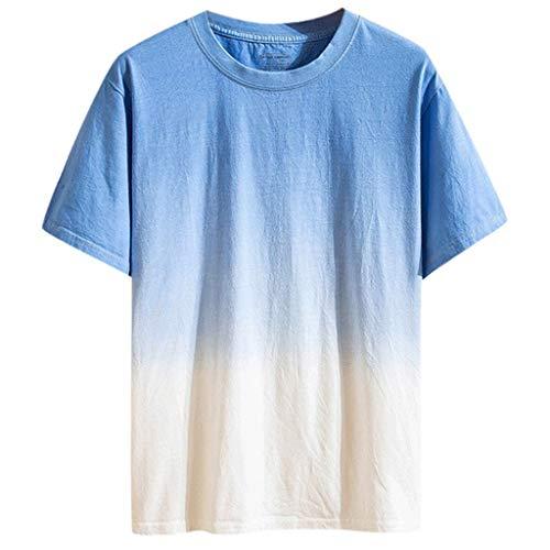 BHYDRY Mode Sommer Männer Casual Tops farbig allmählich ändernden Kurzarm Shirts
