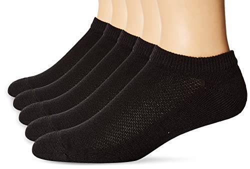 Hanes Men's 5 Pack Ultimate X-Temp No Show Socks, Black, 10-13 (Shoe Size 6-12)