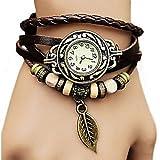 #9: A2zonlineking Vintage Retro Beaded BLACK color Bracelet Leather women wrist watch Band