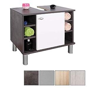 RICOO WM100-CF-W, Mueble baño bajo Lavabo, 60x54x32cm, Armario Auxiliar pequeño, Estantería Debajo lavamanos, Toallero, Madera Blanca y Gris Vintage