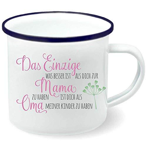 Tasse Becher Emailletasse Emaille Das Einzige was besser ist als dich zur Mama zu haben Widmung Name 300 ml weiß, Farbe:weiß Rand dunkelblau