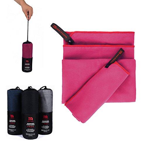 Premium Mikrofaser Handtücher im Doppelpack mit praktischer Tragetasche [140cm x 70cm & 70cm x 40cm] - Ultraleicht und schnelltrocknend - Ideal für Reisen und Sport (Himbeere)