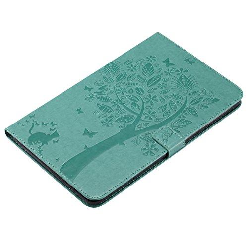 Custodia Galaxy Tab E 9.6, Galaxy Tab E 9.6 Flip Case Leather, SainCat Custodia in Pelle Cover per Samsung Galaxy Tab E 9.6 T560/T561, Anti-Scratch Book Style Protettiva Caso PU Leather Flip Portafogl Verde