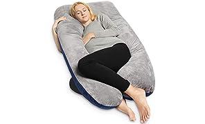 QUEEN ROSE U-förmiges Schwangerschaftskissen, Seitenschläferkissen, Lagerungskissen mit Körper Kissenbezug (Plüsch-Grau&Blau)