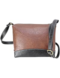 Fargo Couthy PU Leather Women's & Girl's Cross Body Side Sling Bag (Brown,Black_FGO-068)