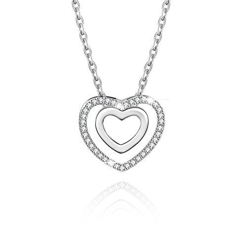 Jacqueline's Tear Double Layered Chain Halskette, verziert mit Zirkonia Diamanten aus Messing (Link Chain Halter)