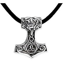 Thorshammer Streitaxt Anhänger Königskette Mjölnir Hammer silber schwarz Thor
