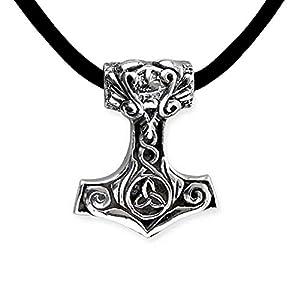 DarkDragon Anhänger Kleiner Thors Hammer 925er Silber Keltischer Schmuck Amulett – Schutz – mit Lederhalsband Schmucksäckchen und Karte 431