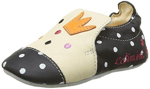 Catimini Etourneau, Chaussures Quatre Pattes (1-10 Mois) Bébé Fille Multicolore (11 Vte Noir/Pois Blanc Dpf/Souple)