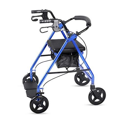 Mr.LQ Rollator Adjustable Height Falten Frame Falten mit Shopping Cart Collapsible Trolley Kaufen Lebensmittel mit gepolstertem Seat (Shopping Falten Cart)