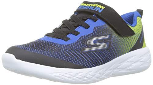 Skechers Jungen Go Run 600-Farrox Sneaker, Schwarz (Black Blue Lime BLM), 30 EU