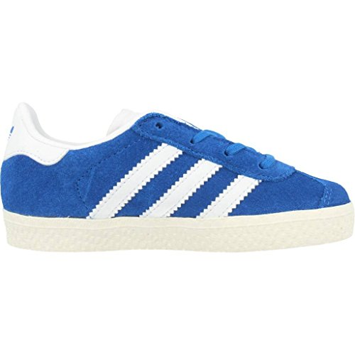 adidas Gazelle, Sneakers Basses Mixte Enfant Bleu (Blue/ftwr White/gold Metallic)