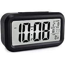 BeGreat Reloj despertador recargable inteligente digital, gran LED-pantalla, luz de sensor, con calendario de fecha, temperatura, tiempo de alarma – negro