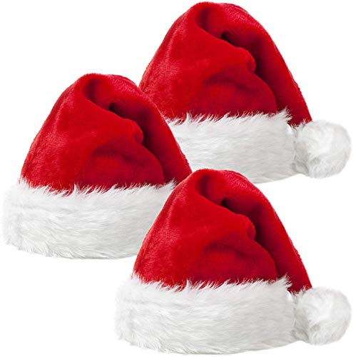 URVI Creation 3 Pcs Christmas Xmas Santa Claus Hat / Santa Claus Cap Merry Christmas Hat Cap for Christmas /Xmas Party Celebration