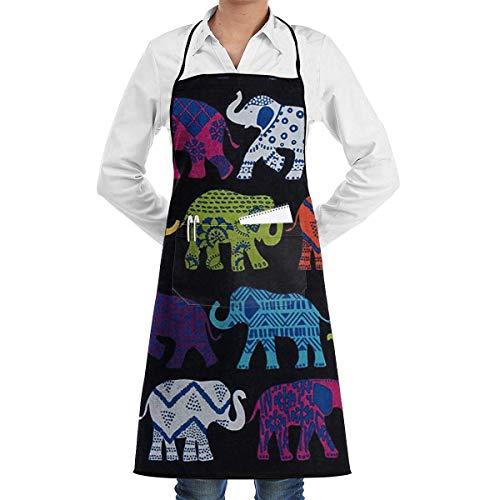 QIAOJIE - Delantal de Cocina con diseño de Elefantes, Color Negro