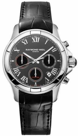 Raymond Weil Parsifal Chrono automático de 41 mm - Reloj de color negro/de plata de la esfera, de color negro de la correa de piel de cocodrilo 7260-STC-00208