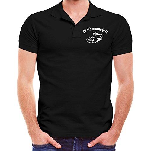 Männer und Herren POLO Shirt VORSICHT WILD! (mit Rückendruck) Schwarz