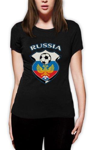 Russland World Cup Soccer Frauen T-Shirt Schwarz