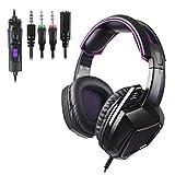 Gaming-Kopfhörer für PS4 Xbox One PC, mit Mikrofon SA920PLUS Black Purple