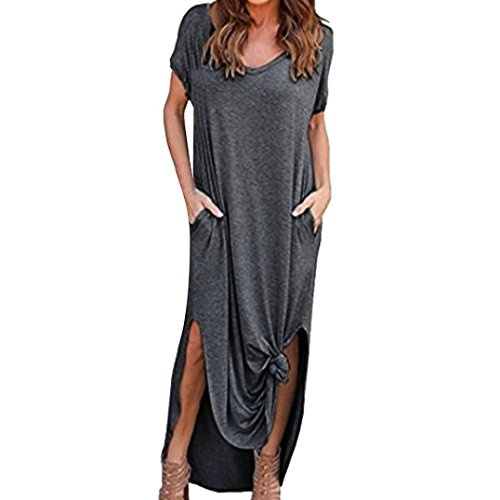 Damen Maxikleider Große Größen, Kanpola Frauen Elegant Tunika Shirt Blusen Lange Kleid Elegante...