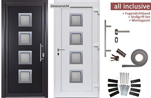 kuporta Kunststoff Haustür Rimini Türen 98 x 208 cm DIN links außen anthrazit/innen weiß mit Stoßgriff-Set Montageset Fugendichtband