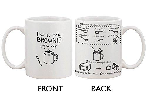 Cute Ceramic Coffee Mug - How to Make Brownie in a Cup - Cute Recipe Mug by love (Brownies In Einer Tasse)