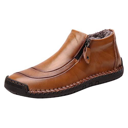 Herren Schuhe Kolylong® Männer Winter Schuhe mit Seitlicher Reißverschluss Ankle Boots PU Leder Schlupf-Stiefel Bequem Dämpfung Flache Stiefel Trekkingschuhe Winterstiefel kurzschstiefel