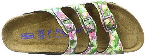 Birkenstock Damen Florida Birko-Flor Softfootbed Pantoletten Mehrfarbig (Caleidoscope Green)