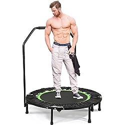 """ANCHEER 40"""" Mini Trampoline de Fitness Pliable avec Poignée, d'Entraînement Cardio pour Adultes ou Enfants (Charge Maximale: 150KG, Tapis de Saut Extensible) (Vert)"""