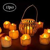 LED Kerzen, innislink Teelichter 12pcs LED Flammenlose Kerzen mit Timerfunktion Flackern Elektrische Kerze Lichter Batterie Dekoration für Weihnachtsbaum Ostern Hochzeit Party - Weiß (Flicker Gelb)
