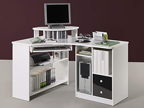 möbelando Eck-Schreibtisch Bürotisch Computertisch Winkelschreibtisch Büromöbel Marcel I Weiß/Schwarz (Elegante Eck-schreibtisch)