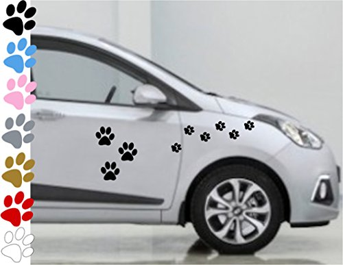 AWS Stickers Set da 26 Zampe zampine Cane in 7 Colori a Scelta Auto Moto Impermeabili Vinile Impronte Paw Dog (Nero)