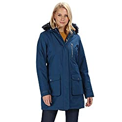Regatta Damen Serleena Waterproof & Thermo-Guard Insulated Faux Fur Hooded Parka Jacket Jacken wasserdicht isoliert, Blauer Opal, 16 (L)