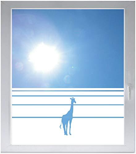 INDIGOS UG Sichtschutzfolie Glasdekorfolie Fensterfolie mit Motiv satiniert Blickdicht - w040 Giraffe Afrika Tier Dschungel Wüste - 1200 mm Länge - 500 mm Höhe Streifen